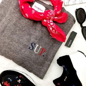 "Heather Gray ""Sup"" Embroidered Sweatshirt"